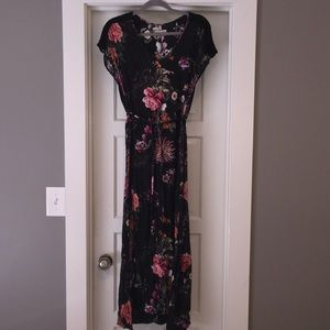 Johnny Was Black Floral Belted Maxi Dress
